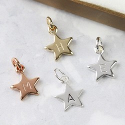 Personalised Star Bracelet Charm with Hand-Stamped Initial