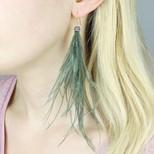 Long Feather Earrings in Khaki