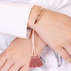 Dark Pink Tassel Bangle in Rose Gold