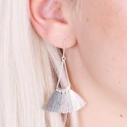 Grey Tassel Fan Drop Earrings in Silver