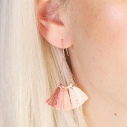 Pink Tassel Fan Drop Earrings in Rose Gold