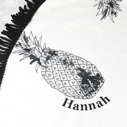 Personalised Monochrome Pineapple and Tassel Round Beach Towel