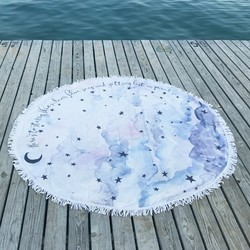 Starry Nights Watercolour Cloud Round Beach Towel