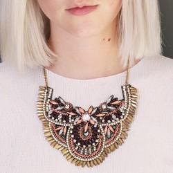 Beaded Fabric Collar Necklace