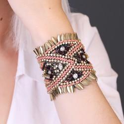 Beaded Fabric Cuff Bracelet
