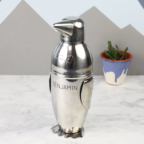 Personalised Stainless Steel Penguin Cocktail Shaker