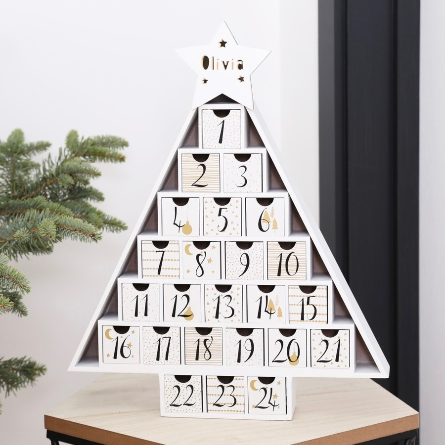 Diy Calendar Australia : Engraved wooden christmas tree advent calendar lisa angel