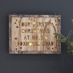 Personalised Wooden Christmas Light Box Frame