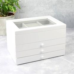 Triple Drawer Jewellery Box in White