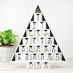 Wooden Christmas Tree Advent Calendar in White
