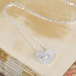 Personalised Silver Button Heart Name Necklace