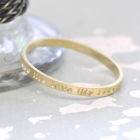 Gold 'Love Life' Band Ring