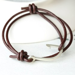 Men's Personalised Brown Leather Cord and Hook Bracelet