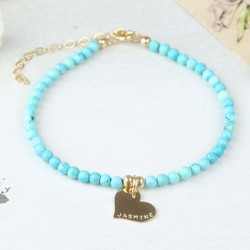 Personalised Delicate Turquoise Bracelet