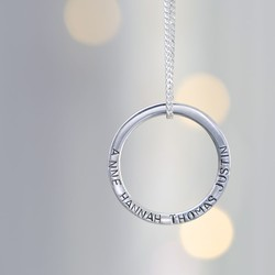 Personalised Silver Eternity Hoop Necklace