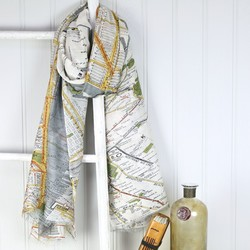 One Hundred Stars New York City Subway Map Scarf in Grey