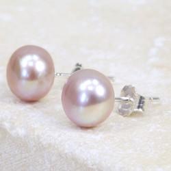 Vintage Pink Sterling Silver Freshwater Pearl Stud Earrings
