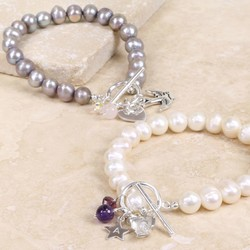 Personalised Freshwater Pearl Bracelet with Silver Initial