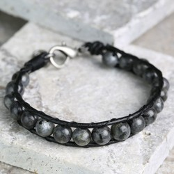 Men's Leather & Obsidian Bead Bracelet