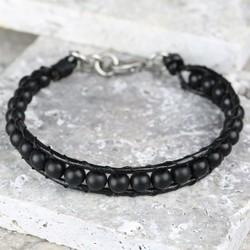 Men's Black Leather & Bead Bracelet - Extra Large