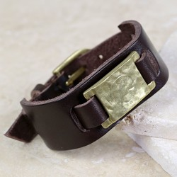 Personalised Men's Brown Leather and Brass Cuff Bracelet