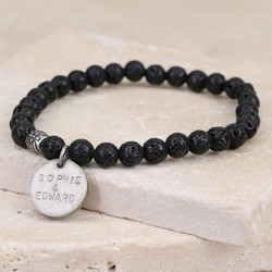 Men's Personalised Black Volcanic Stone Stretch Bracelet