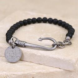 Men's Personalised Matt Black Bead and Fish Hook Bracelet
