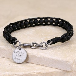 Men's Personalised Black Volcanic Stone and Leather Bracelet