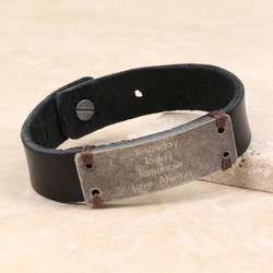 Personalised Men's Slim Leather Cuff Bracelet with Metal Plate