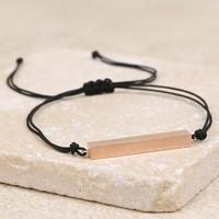 Rose Gold Bar and Cord Bracelet in Black