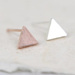 Mismatched Tiny Brushed Triangle Stud Earrings