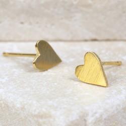 Little Brushed Heart Stud Earrings in Gold