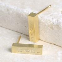 Personalised Gold Bar Stud Earrings