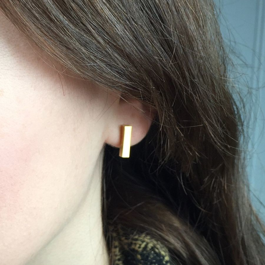 tiny earrings studs line bar stud minimalist gold pin