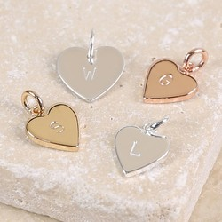 Personalised Heart Bracelet Charm with Hand-Stamped Initial