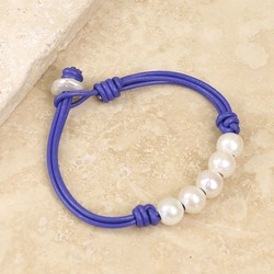 Pearl and Violet Leather Friendship Bracelet