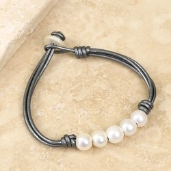 Pearl and Grey Leather Friendship Bracelet
