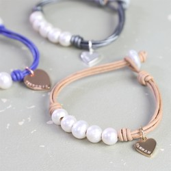 Personalised Pearl and Leather Friendship Bracelet