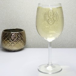 Personalised Engraved Gold Monogram Wine Glass