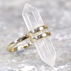 Orelia Quartz Crystal Shard Ring