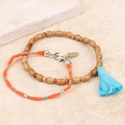 Orelia Beaded Tassel Bracelet Set