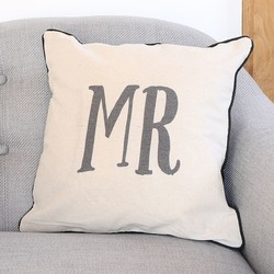 Sass & Belle Linen 'Mr' Cushion