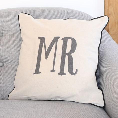 Sass & Belle Linen 'Mr' Cushion