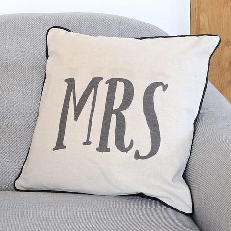 Sass & Belle Linen 'Mrs' Cushion