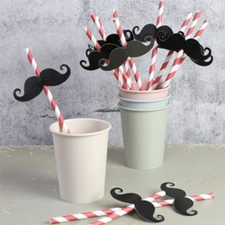 Pack of 12 Barber Shop Paper Moustache Straws
