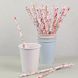 Pack of 25 Floral Summer Meadow Paper Straws