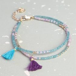Layered Bead & Tassel Mermaid Bracelet in Aqua