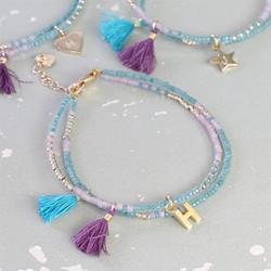Personalised Layered Bead & Tassel Mermaid Bracelet in Aqua with Initial