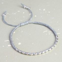 Waxed Cord Friendship Bracelet in Grey & Silver