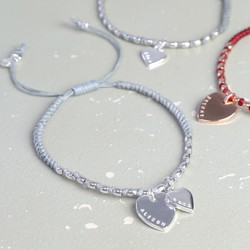 Personalised Double Heart Waxed Cord Friendship Bracelet